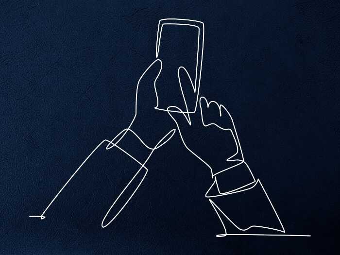 contour of hands with a smartphone